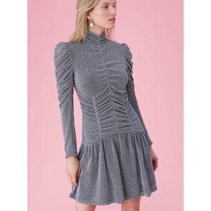Rebecca Taylor Lurex Jersey Ruched Dress